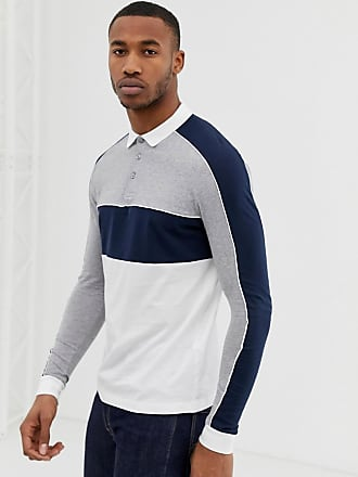 0047a974 Asos long sleeve polo shirt with color block and contrast piping in navy -  Navy