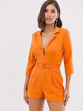 Missguided tux playsuit in orange