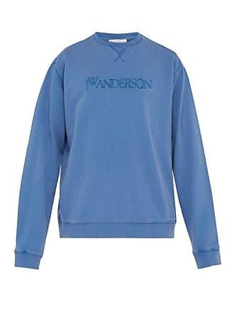 J.W.Anderson Jw Anderson - Embroidered Logo Cotton Sweatshirt - Mens - Blue