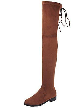 59e748ac0a0524 Aiyoumei Damen Stretch Flach Overknee Stiefel mit Schnürung Bequem Freizeit  Winter Langschaft Stiefel
