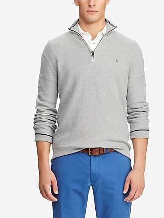 a6e700d467c Polo Ralph Lauren Pull en coton col montant zippé siglé Gris Polo Ralph  Lauren