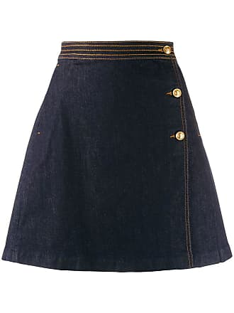 Tory Burch Saia jeans transpassada - Azul