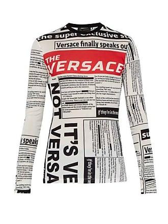 61335cb620d Versace T-shirt manches longues à imprimé tabloïd