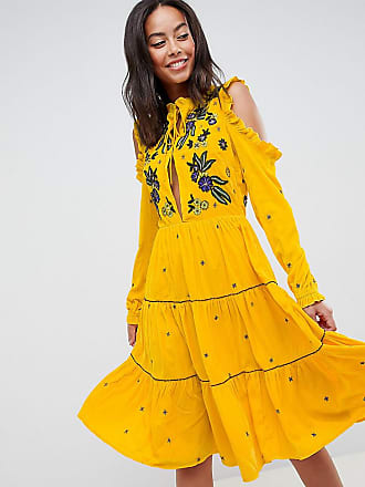 Frock and Frill Tall Frock And Frill Tall Cold Shoulder Velvet Smock Dress With Floral Embroidery - Yellow