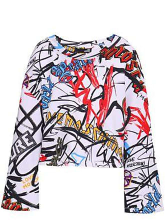 Love Moschino Love Moschino Woman Cropped Printed French Cotton-terry Sweatshirt White Size 40