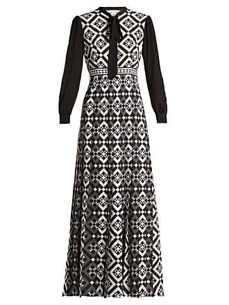 fb2e912207cf Mary Katrantzou Duritz Tile Print Crepe De Chine Dress - Womens - Black  White