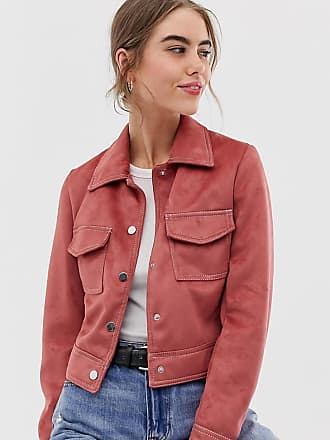 New Look suedette utility trucker jacket in dark pink - Pink
