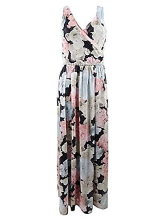 S.L. Fashions Womens Sleeveless Bead Waist Maxi Dress, Black/Multi, 16