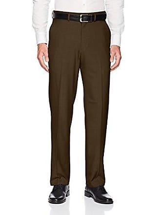 Haggar Mens Premium Comfort Classic Fit Flat Front Expandable Waist Pant, Dark Chocolate, 44Wx29L