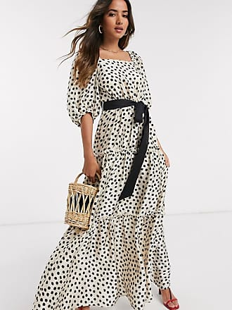 Mango Gelaagde maxi-jurk met volumineuze mouwen en stippenprint-Wit