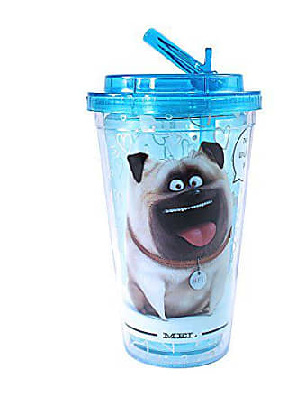 Universal Works Silver Buffalo PT1384 Universal The Secret Life of Pets Heart Print Mel Plastic Cold Cup with Flip Straw, 16-Ounces