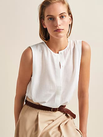 MASSIMO DUTTI SILK AND COTTON TOP WITH TEXTURED PLEATS