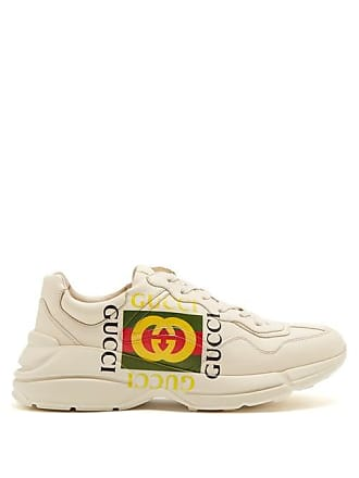 4b3137a0500 Gucci Rhyton Logo Print Low Top Leather Trainers - Mens - White Multi