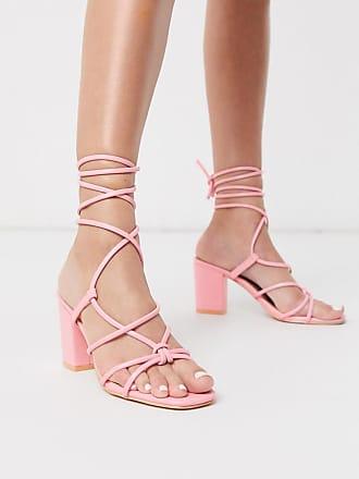 Glamorous Sandali con tacco largo allacciati alla caviglia rosa