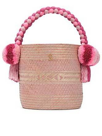 Yosuzi Yosuzi Woman Kesenia Embellished Woven Straw Bucket Bag Pastel Pink Size