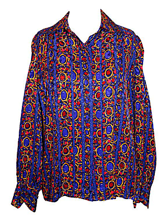 38fe562911edb Saint Laurent Ysl Vintage Silk Multi Color Long Sleeve Blouse-38-circa 90s