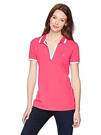 Nautica Womens Short Sleeve Open Neck Polo Shirt, Rouge Pink, Medium