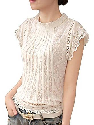 538fda9ba3e395 Cheerlife Elegant Damen T-Shirt Spitze Langarmshirt/Kurzarmshirt  Spitzenshirt Top Bluse Shirt Tunika Hemd