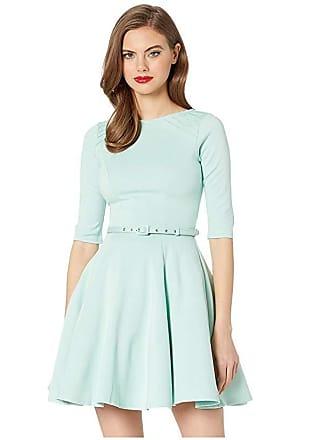 Unique Vintage Knit 1/2 Sleeve Fit Flare Dress (Mint) Womens Dress
