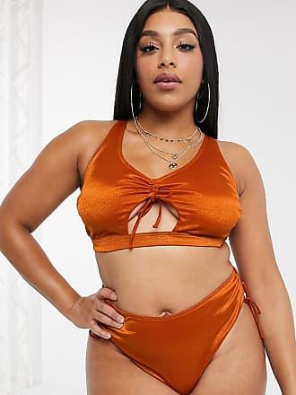 Wolf & Whistle Curve Esclusiva Wolf & Whistle Curve - Top bikini a corpetto allacciato sul davanti ruggine lucido-Arancione