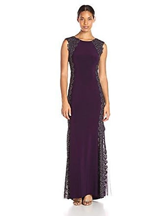 Xscape Womens Long ITY Dress with Lace Sides, Plum/Gold, 8