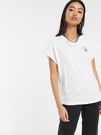 Cheap Monday Screen - T-shirt con logo con piccolo teschio-Bianco