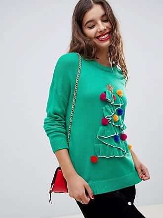 Brave Soul tree christmas sweater with pom poms - Green