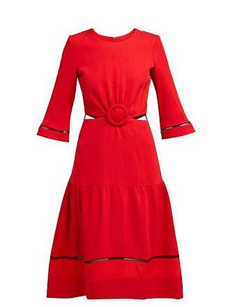 Zeus + Dione Parthenon Buckled Plissé Dress - Womens - Red