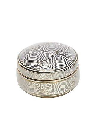 Sagebrook Home 11848-01 Decorative Ceramic Covered Jar, White/Gold, 5.25 x 5.25 x 3.25 Inches