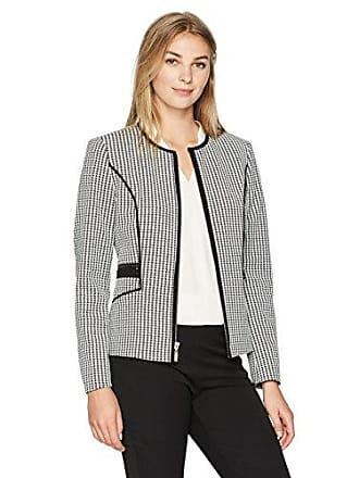 Kasper Womens Knit Houndstooth Zipper Front Jacket, Black/White 4