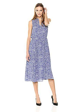 Anne Klein Womens Drawstring Midi Dress, Okeefe Blue/White Combo, Medium
