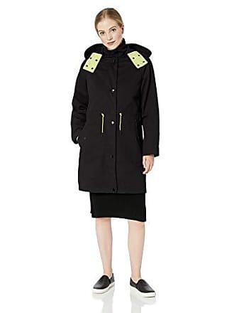 A|X Armani Exchange Womens Layered Drawstring Coat with Hood, Black, L