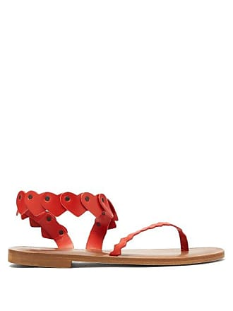 ÁLVARO GONZÁLEZ Aruba Heart Strap Leather Sandals - Womens - Red