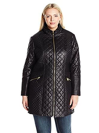 41e8f64a680 Via Spiga Womens Plus-Size Diamond Stand Collar Quilt Jacket, Black, 1X