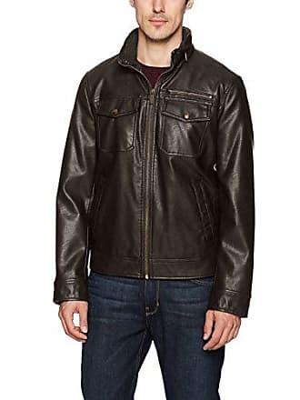 Dockers Mens Faux Leather Classic Trucker Jacket, Dark Brown, Medium