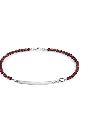 Anchor & Crew Red Garnet Purity Silver and Stone Bracelet - 19cm (most popular)