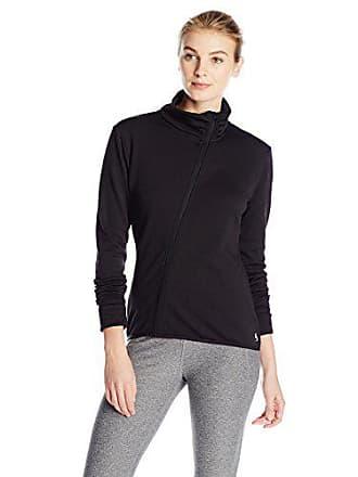 Soffe Womens Asymmetrical Zip Jacket, Black, Large