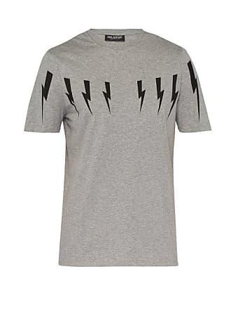 ef58ecbe Neil Barrett Lightning Bolt Print Stretch Cotton T Shirt - Mens - Grey