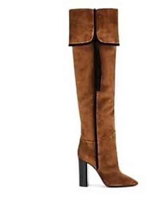60f7fe77511 Saint Laurent Womens Meurice Suede Knee Boots - Beige