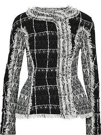 Roland Mouret Roland Mouret Woman Bellasis Frayed Cotton-blend Tweed Jacket Black Size 10