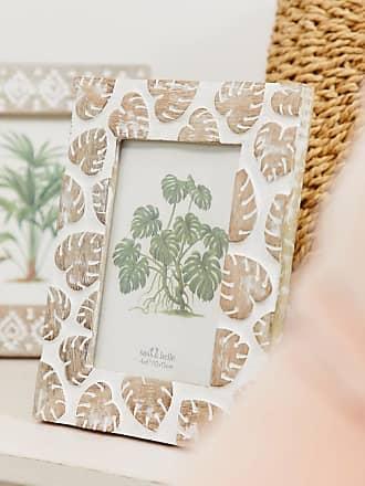 Sass & Belle Sass & belle - Cornice portafoto in legno di mango con foglie di monstera intagliate-Multicolore