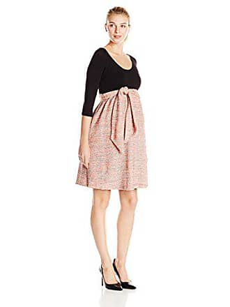 67a657eb2dd88 Maternal America Womens Maternity Front Tie Boucle Dress, Black/Pink, Large