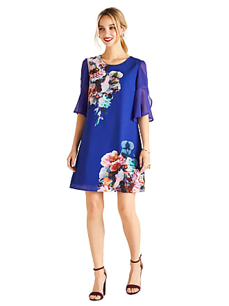 Yumi Floral Placement Tunic Dress with Sheer Frilled Sleeves Cobalt Blue 9ddc3b164