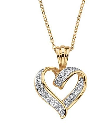 PalmBeach Jewelry White Diamond Accent Two-Tone Pave-Style Looped Heart Pendant Necklace 18k Gold-Plated 18-19