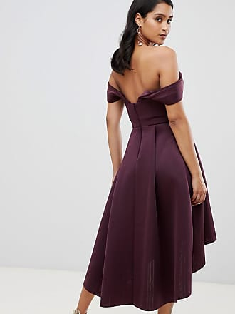 d00b944810 Asos ASOS Bardot Cold Shoulder Dip Back Midi Prom Dress - Purple