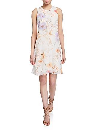 Iconic American Designer Floral Chiffon Trapeze Dress