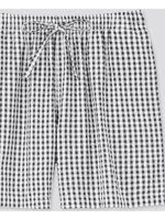 Uniqlo Shorts Cotone Seersucker Principe Di Galles Relaco A Quadri Donna
