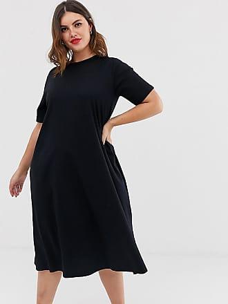 465517c13485f Asos Curve ASOS DESIGN Curve super oversize midi swing t-shirt dress - Black