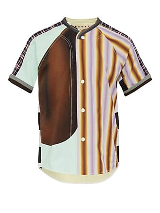 Marni Patchwork Cotton And Jersey Bowling Shirt - Mens - Multi