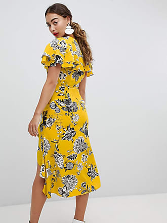 ed00f0b423a River Island Ruffle Wrap Front Midi Dress - Yellow